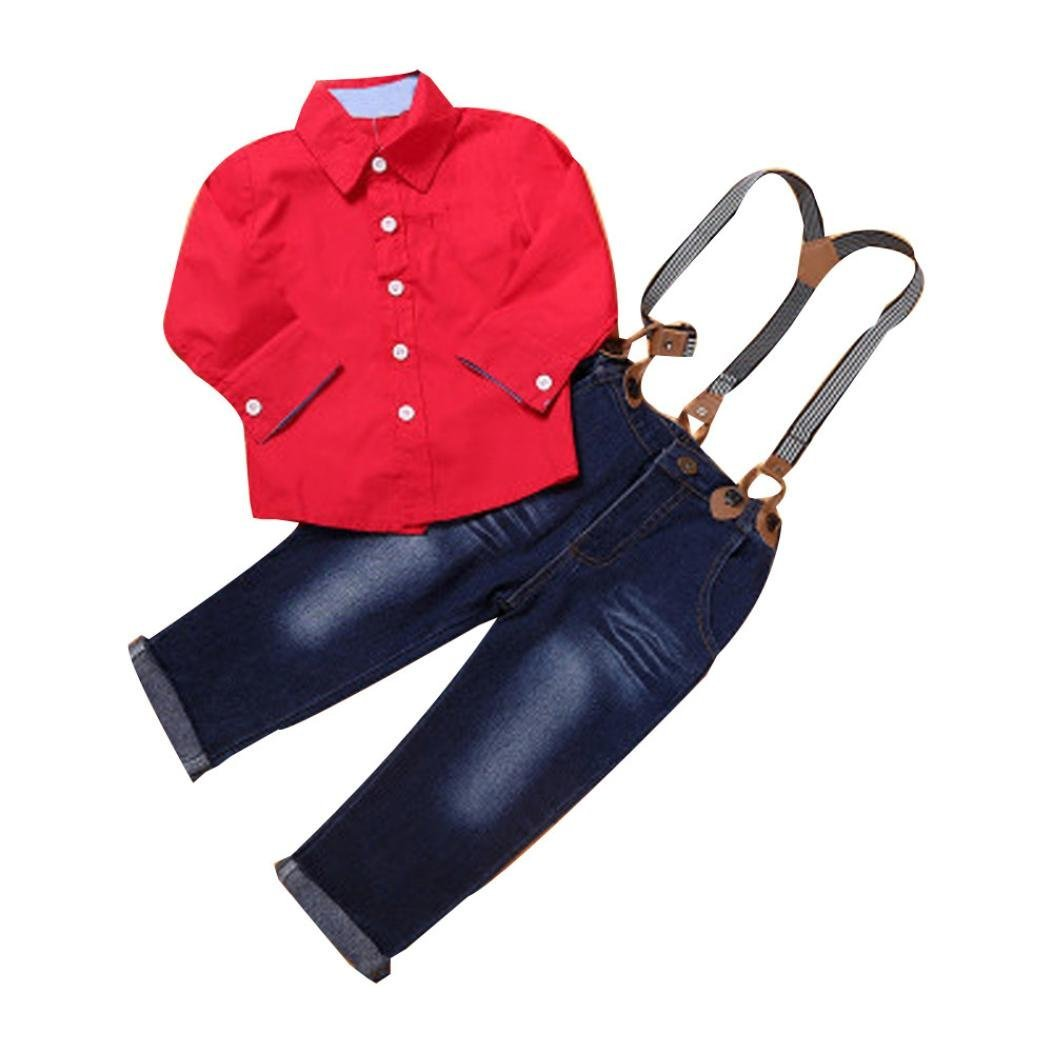 BeautyVan Hot Sale ! Baby Outfits Set,New Summer 1Set Boys Handsome Red Shirt+Braces Trousers Outfits (2T, Red)