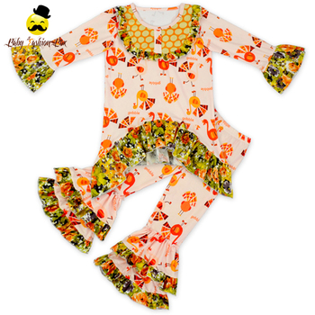 82868772b 66TQZ571 Yihong Fall Turkey Baby Girl Boutique Clothing Sets Ruffles Long  Sleeve thanksgiving Girl Clothing