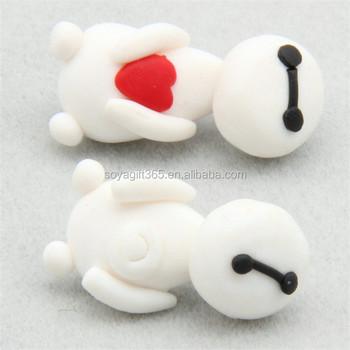 Polymer Clay Stud Earrings Loving Heart White Cute Cartoon Shape Earring