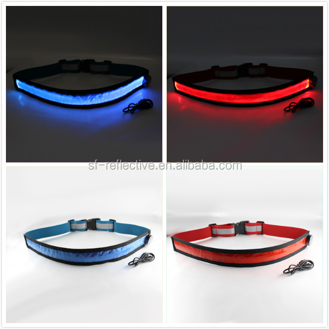 USB battery control LED flashing reflective flip belt waterproof sports safety electric led warning waist belts