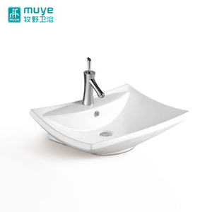 Soild surface bathroom basin elegant single faucet hole porcelain countertop vessel sink