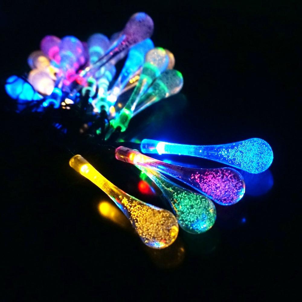 20 Led Icicle Lights Solar Powered Raindrop String Fairy Lights ...
