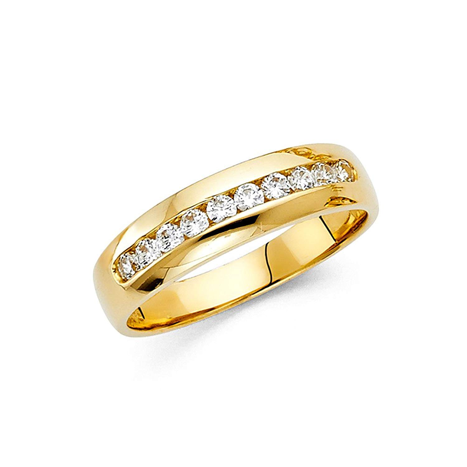 e4749e2408 Get Quotations · Mens CZ Wedding Band Solid 14k Yellow Gold Engagement Ring  Channel Set Polished Finish Fancy