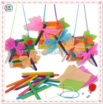 Children Diy Corrugated Paper Dragon Fly Decoration With Colorful Wood Stick AccessoriesKids Craft