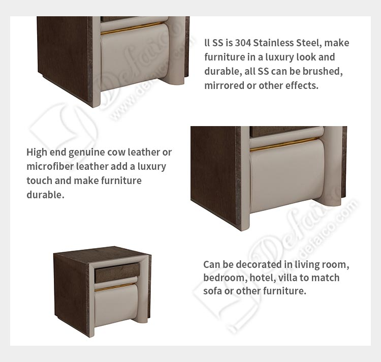 Cubic Luxury European Style New Design Side Small Table Night Stand with Leather Cover for Bedroom