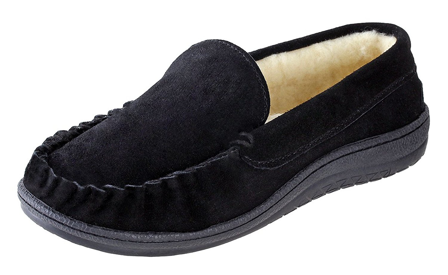 Urban Fox Royce Moccasin Slippers Men I Rubber-Sole I Cow-Suede I 100% Coral Fleece Lining I Comfortable House Slippers I Slippers For Men I Closed Toe & Heel Slippers For Men