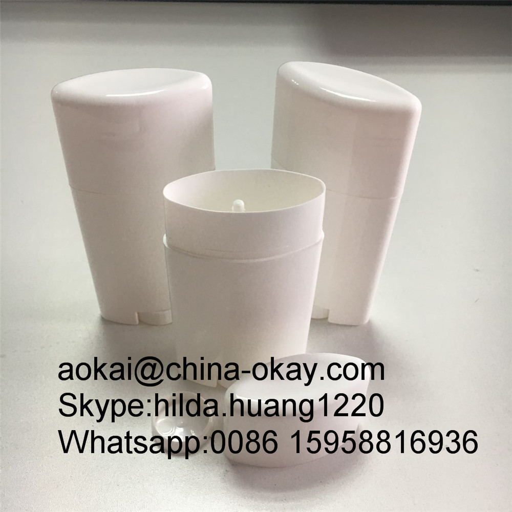 Factory supply special design 50g Bottom Filling Twist Up White Oval Deodorant Stick Bottles