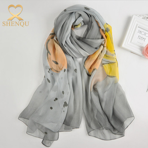 Fashion Wraps Shawl Large Linen Long Flower Butterfly Printed Crinkle Chiffon Scarf Crinkle Hijabs