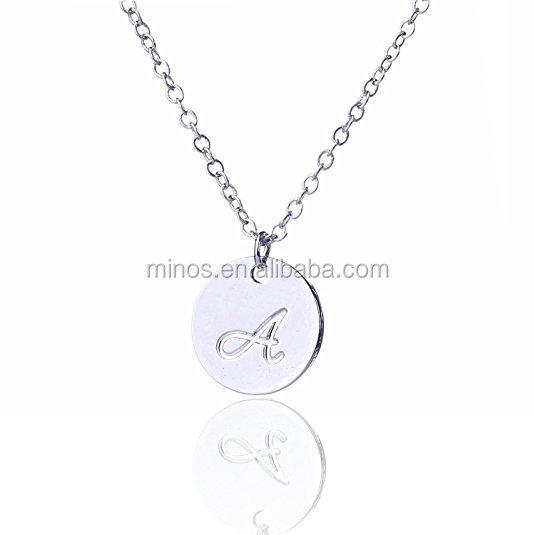 Small Stainless Steel Initial Disc Necklaces,Beautiful Design Pendant Necklace