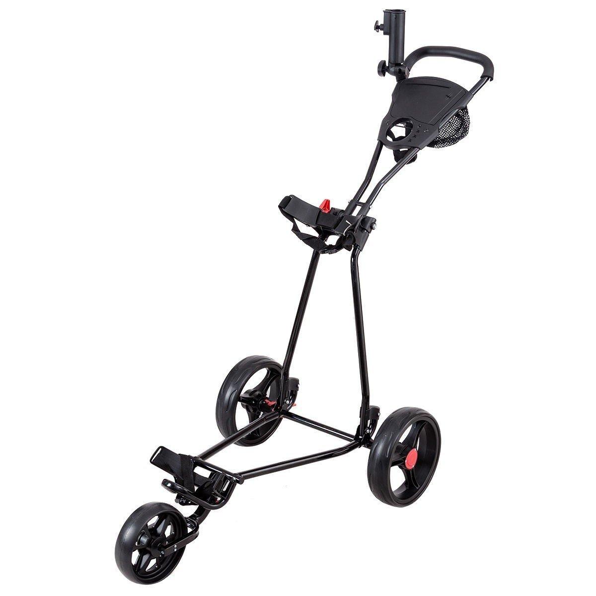 Apontus Durable Foldable Steel Golf Cart with Mesh Bag