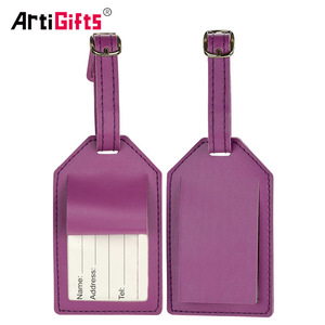 Wholesale cheap custom logo made pu leather airplane luggage tag