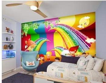 Behang Kinderkamer Regenboog : Aangepaste kinderkamer muur decor mooie kleurrijke regenboog behang