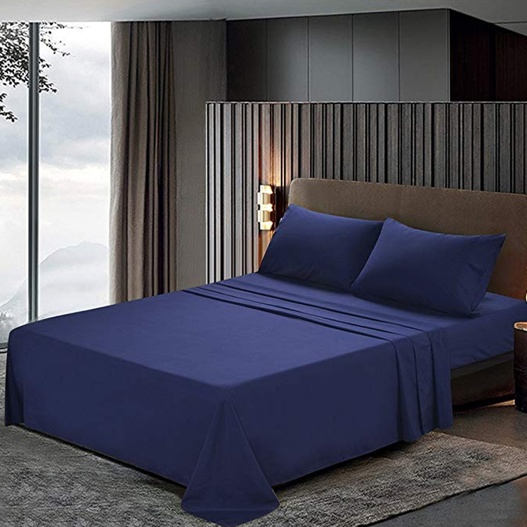Luxury 100% cotton bed sheet solid color bed linen set hotel bedding set