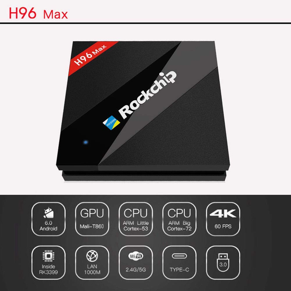 Mocei H96 MAX RK3328 Hexa Core Android 7.1 4+64GB Dual WiFi 4K Type-C USB TV Box AU Plug