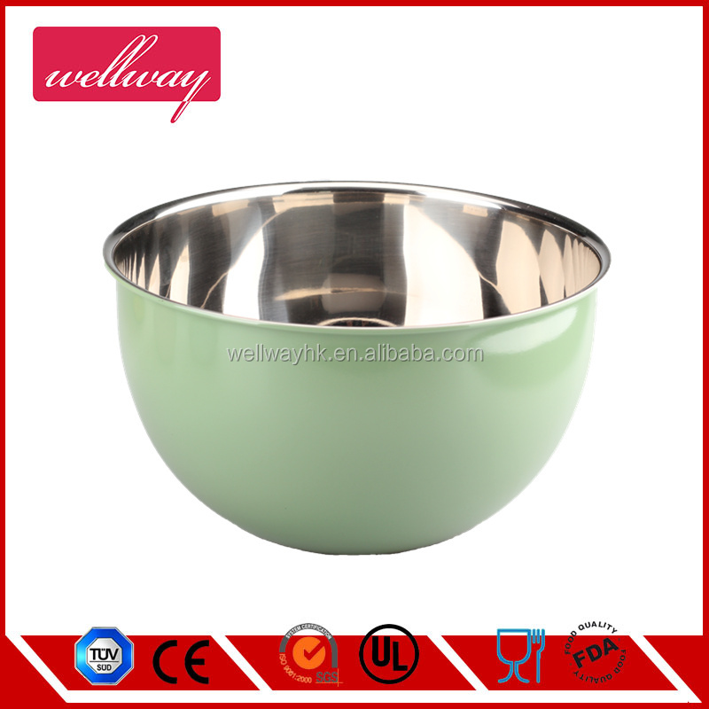 Warm green Painting stainless steel deep mixing Bowl, Spills And Splatters resistant