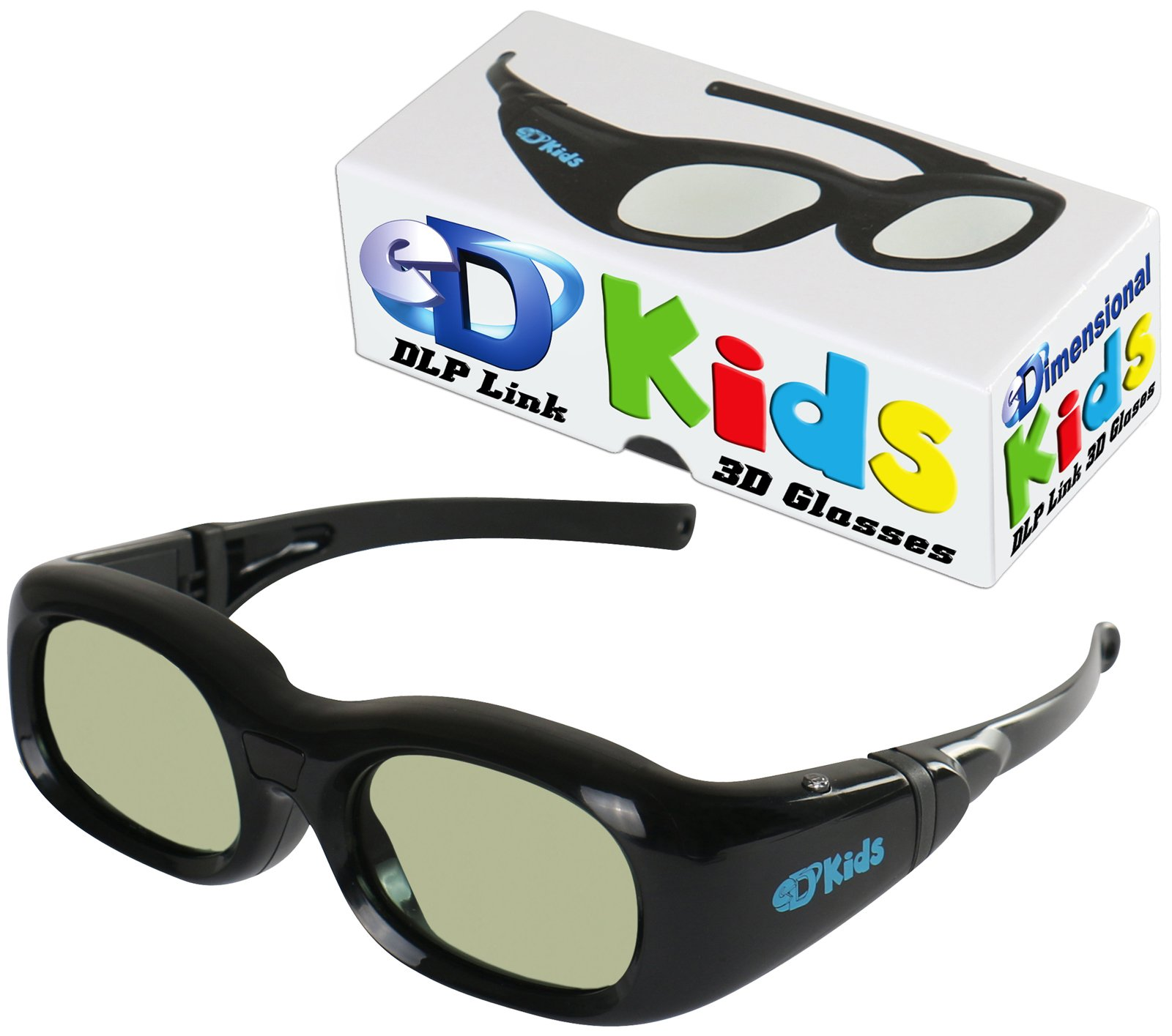 KIDS DLP LINK eDimensional Elite 144 Hz Active Rechargeable eD Children's 3D Glasses for All 3D DLP Projectors - BenQ, Optoma, ViewSonic & Endless Others!