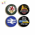 Metal Brooch Button 75mm Tole Tinplated Badge