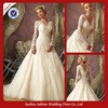 Wed001 NewestBall Gown V-neck Luxury Beaded Applique Long Sleeve Lace Modest Wedding Dress