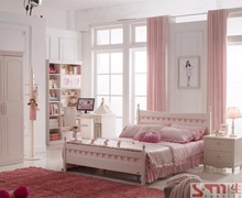 White and pink MDF material kids queen size bed for girl bedroom furniture
