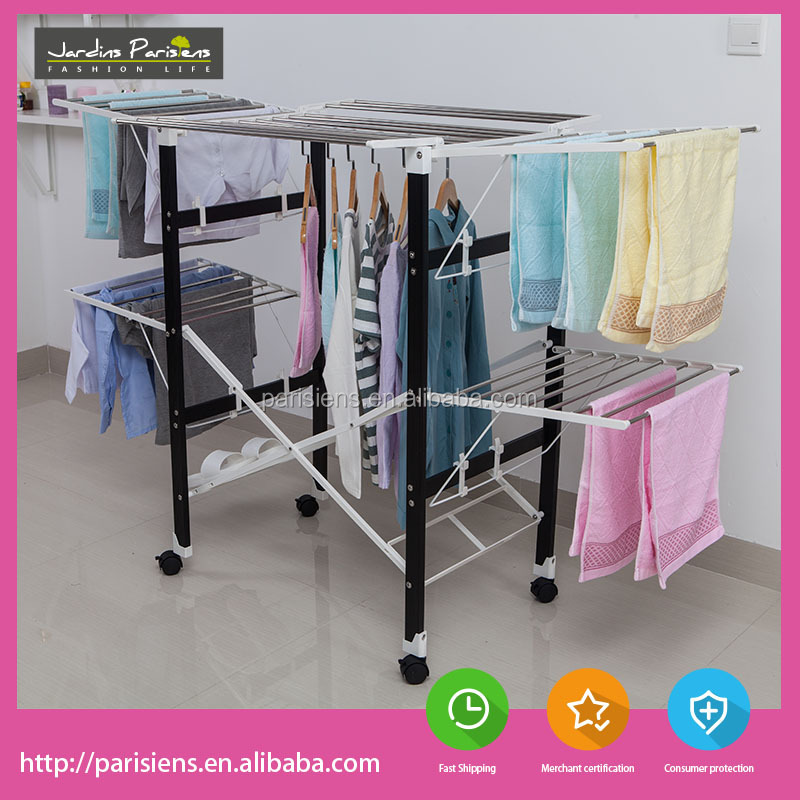Multifunctional stainless steel balcony folding clothes drying rack with wing shaped