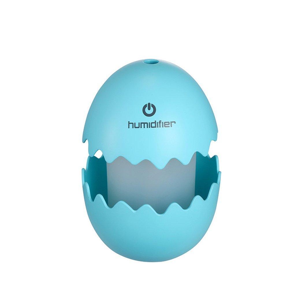 GuDoQi Mini egg humidifier USB egg ultrasonic humidifier portable LED light humidifier for home office car blue