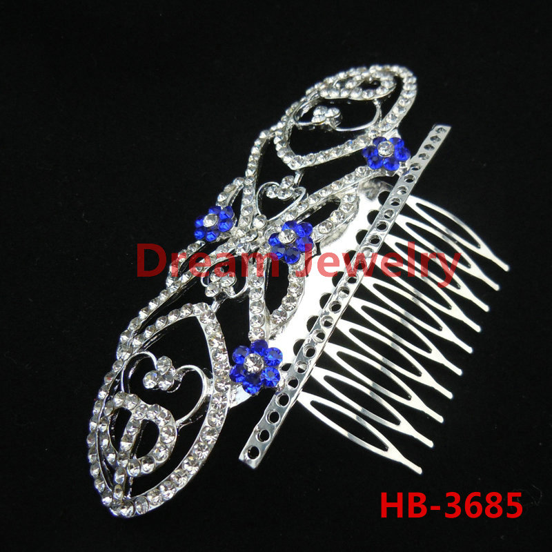 High Quality Crystal Bridal Wedding Hair Accessories Head Jewelry Hair Comb Hairpin Blue Rhinestone Tiara For Bride