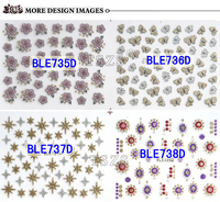 Beautiful Glitter Flowers New Arrival Nail Decals Colorful 3d Rose Nail Stickers