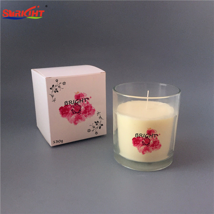 Perfumed Scented SPA Transparent Glass Flower Pattern Design Candles