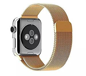 Apple Watch Band, Arona Inc (R), Milanese Loop Gold Stainless Steel Replacement Watchband Strap Wrist Band with Adapter for 42mm Apple Watch & Sport & Edition (42mm-Gold)