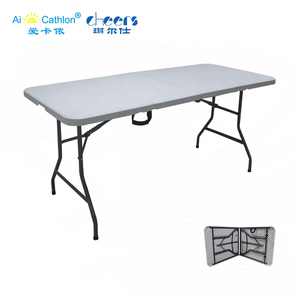 Wholesale Lightweight Portable 6FT Camping Folding Table Lifetime HDPE Plastic Foldable Table