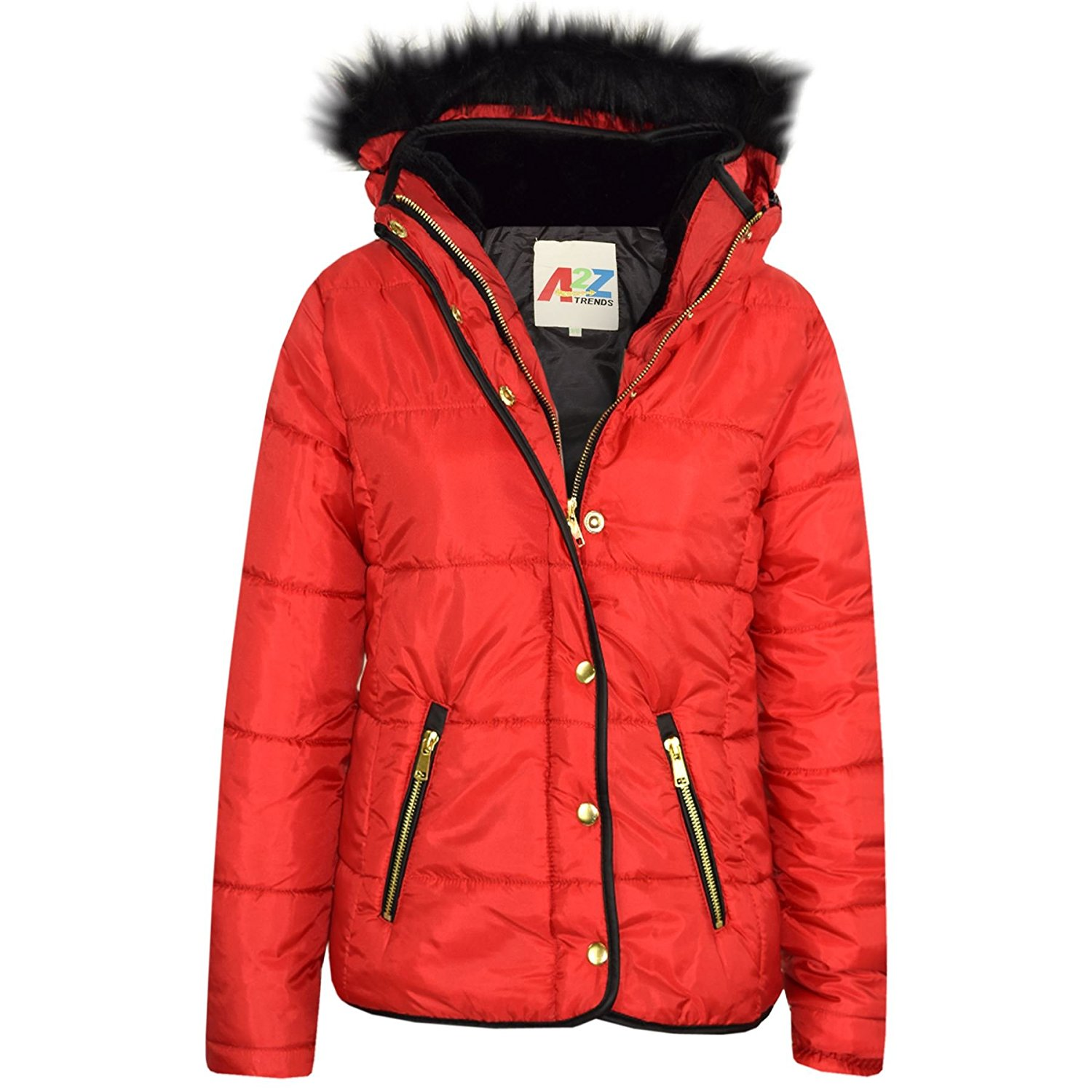 ef3ca24b0 Get Quotations · A2Z 4 Kids® Girls Jacket Kids Padded Puffer Bubble Faux Fur  Collar Quilted Warm Coats