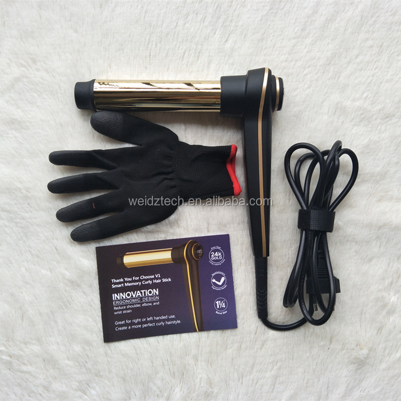 Electric Hair Curler Hair Roller Curling Barrel Copper Tube Safety Buzzing Function Memory 130C to 230C Curling Wand