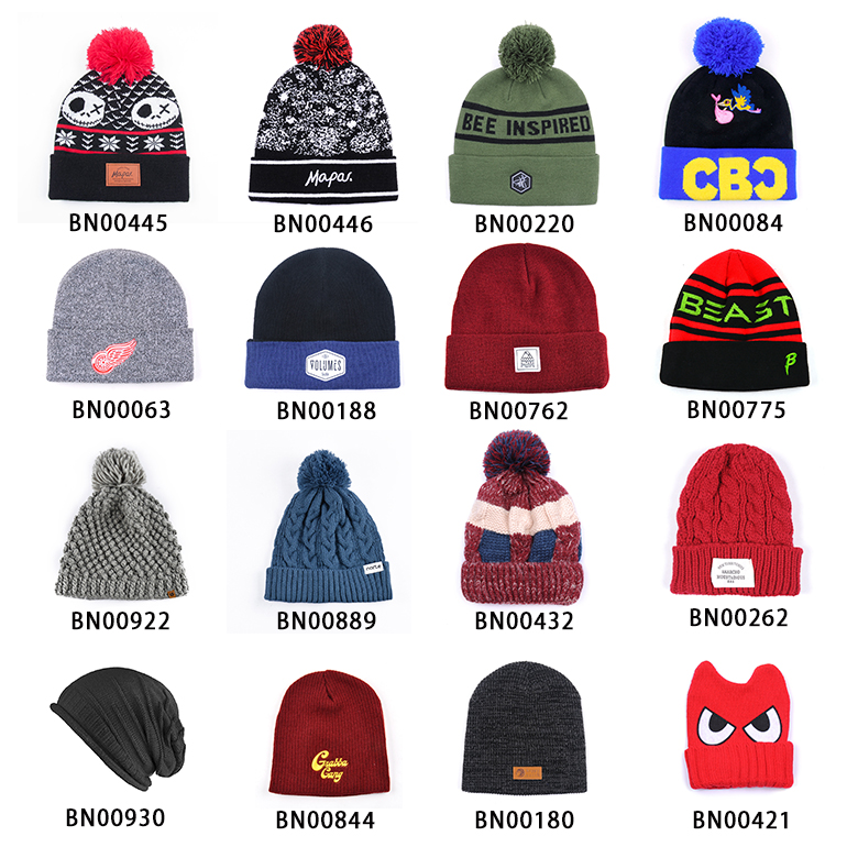 hot sale mens winter knitting pattern acrylic beanie hat for promotion
