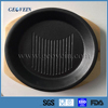 Round Shape Cast Iron Sizzling Steak Plate with Wooden Base
