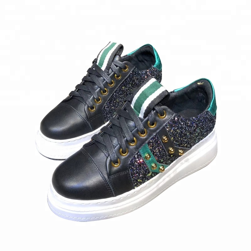 sponge Sequined cake strap matching rivet round casual color shoes head q44U5