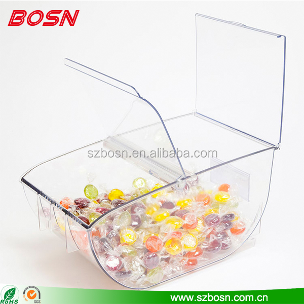 Popular pick and mix sweet dispensers Perspex and confectionery bin with a lid displays