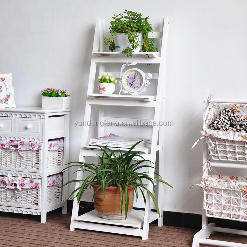 Zakka garden wood folding flower pot shelf flower shelf - Estantes para plantas ...