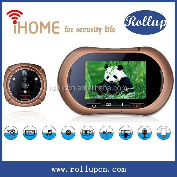 WiFi voice recordable door chime,wifi doorbell camera,electronic door peephole