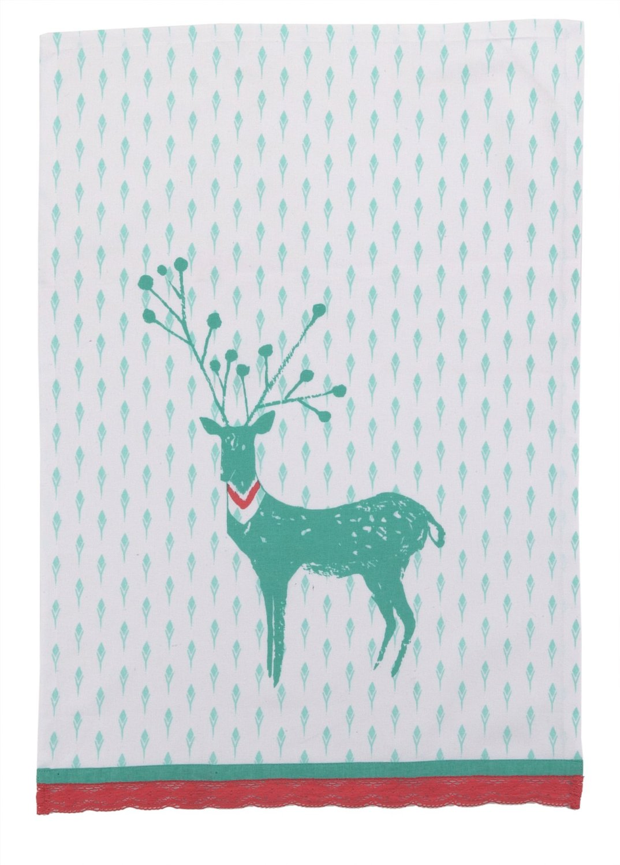 Peking Handicraft Sarah Watts Kitchen Linen Reindeer White Dish Cloth, Blue
