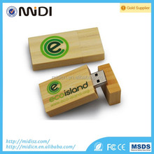 Wooden USB Flash Memory Swivel Pen drive with Customized Logo