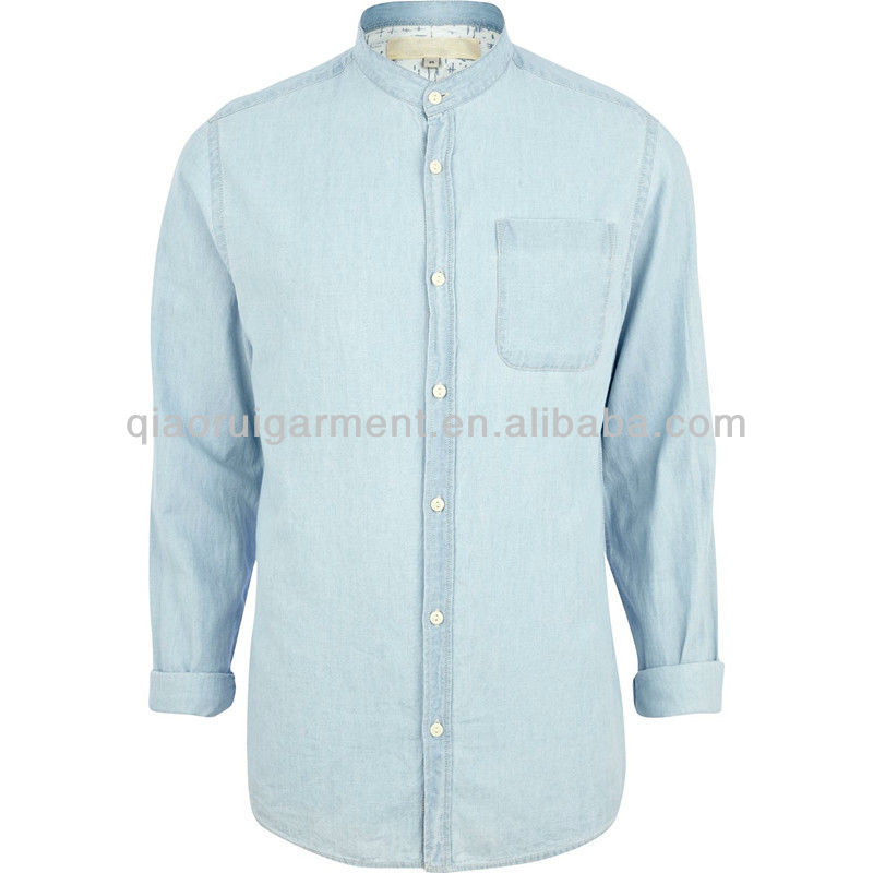 dc4abc3ade Light Blue Wash Chinese Collar Denim Shirts For Men - Buy Light Blue ...