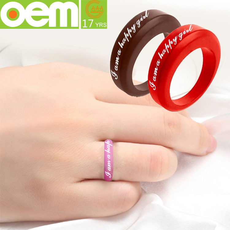 Custom Design Silicone Wedding Band Ring Silicone Ring With Name