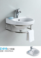 wall hung basin small bathroom stainless steel cabinet towel rack ceramic hand wash basin