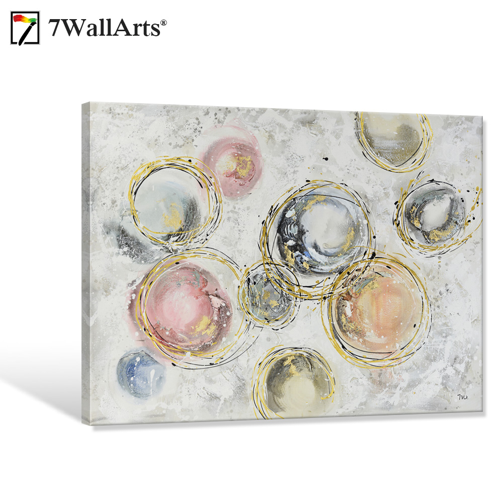 Panting on Canvas Abstract Circular Motion Oil Painting Ready to Hang for Living Decor