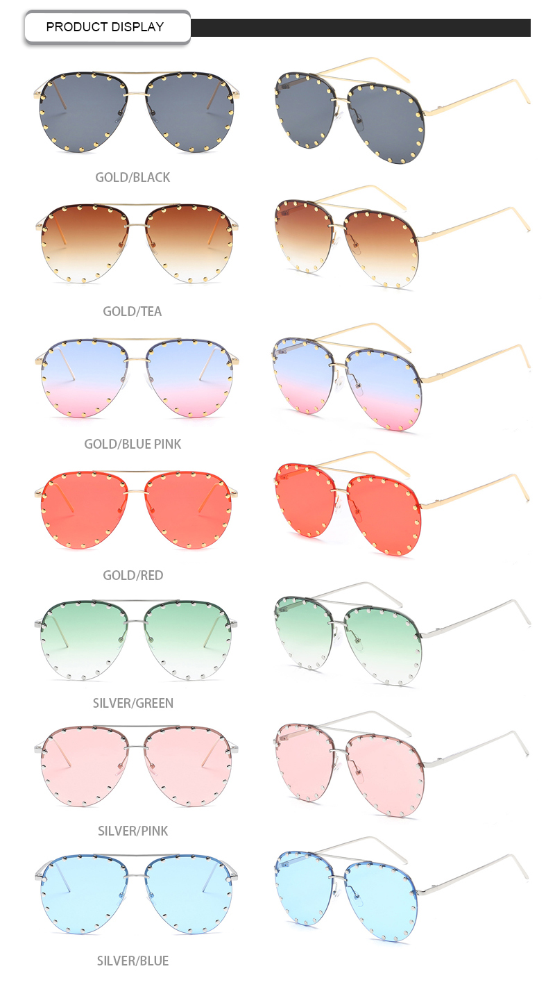 Fashion Rivet Round Frame Private Label Mirror Color Women Sunglasses