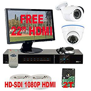 "GW Security High Definition 4 Channel Surveillance DVR Security Camera System with 2 x HD-SDI 1/3"" 2.1 Megapixel Panasonic CMOS Camera,HDMI Monitor and 2TB HD"