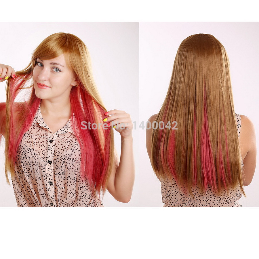 Sale Natural Straight Hair Wigs For Women Red And Blonde Heat Resistant  Synthetic Wigs YL010 bf1dc2aba9