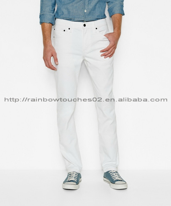 white high waist model skinny pent fashion jeans with embroidery mens