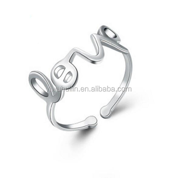 YFY1136 Yiwu Huilin Jewelry Love alphabet silver ring gemstone finger rings for women