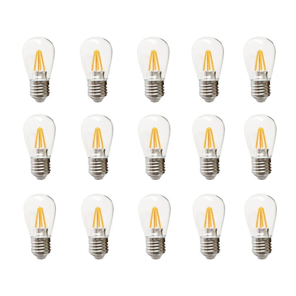Ceshiney LED S14 4 Watt Dimmable Bulb E27 Base Use to Replace incandescent bulbs in Outdoor Patio String Lights - Edison-inspired Exposed Filaments Design(Pack of 15) (Dimmable)